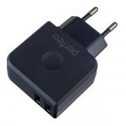 PERFEO Сетевое зарядное устройство с двумя разъемами USB, 3.4А, черный (I4623)