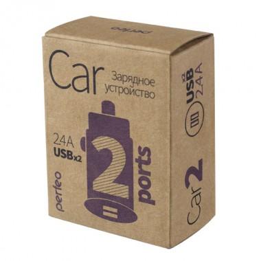 PERFEO Автомобильное зарядное устройство с двумя разъемами USB, 2x2.4А, черный, «CAR» (PF_A4460)