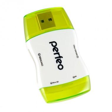 Perfeo Card Reader SD/MMC+Micro SD+MS+M2, (PF-VI-R016 Green) зелёный (PF_4272)