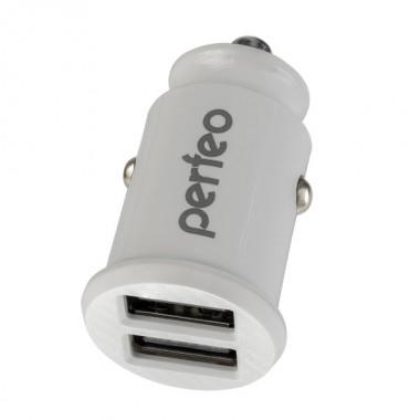 PERFEO Автомобильное зарядное устройство с двумя разъемами USB, 2x2.4А, белый, «CAR» (PF_A4459)