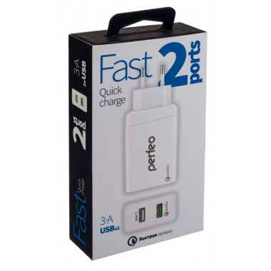 PERFEO Сетевое зарядное устройство с разъемом 2xUSB, QC3.0, белый, «FAST 2» (PF_A4141)