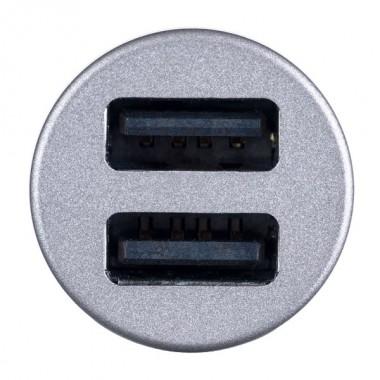 PERFEO Автомобильное зарядное устройство с двумя разъемами USB, 2x2.4А, серебро, «AUTO 2» (PF_A4456)