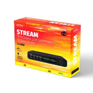 DVB-T2/C приставка  «STREAM» для цифрового TV, Wi-Fi, IPTV, HDMI, 2 USB, DolbyDigital, пульт ДУ (PF_A4351)