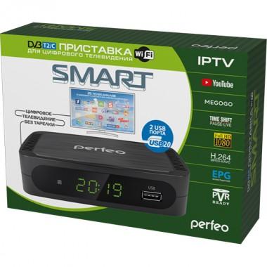 DVB-T2/C приставка  «SMART» для цифрового TV, Wi-Fi, IPTV, HDMI, 2 USB, DolbyDigital, пульт ДУ (PF_A4415)
