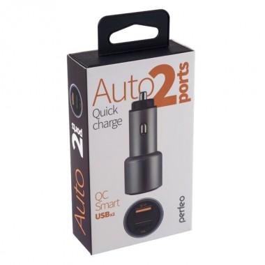 PERFEO Автомобильное зарядное устройство с QC3.0, 2xUSB, QC3.0+2.4А, серебро, «AUTO2 QC» (PF_A4489)