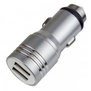 PERFEO Автомобильное зарядное устройство с двумя разъемами USB, 1А + 2.1A, металл (I4612)