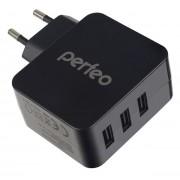 PERFEO Сетевое зарядное устройство с разъемом 3xUSB, 4.8А, черный, «CUBE 3» (PF_A4135)