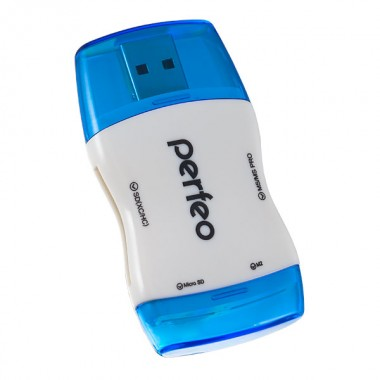 Perfeo Card Reader SD/MMC+Micro SD+MS+M2, (PF-VI-R016 Blue) синий (PF_4271)
