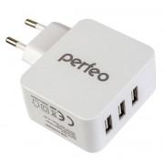PERFEO Сетевое зарядное устройство с разъемом 3xUSB, 4.8А, белый, «CUBE 3» (PF_A4134)