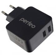PERFEO Сетевое зарядное устройство с разъемом 2xUSB, 3.4А, черный, «CUBE 2» (PF_A4133)