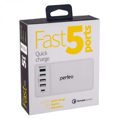 PERFEO Сетевая зарядная станция 3xUSB, QC3.0, Type C, белый, «FAST 5» (PF_A4454)