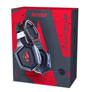 Perfeo игровая гарнитура ARMOR черная с красным 2,2 м, разъем 3,5 мм (4 pin) и USB (LED), переходник