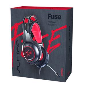 Perfeo игровая гарнитура FUSE черная 1,8 м, разъемы 2x3,5 мм (3 pin) и USB (LED), переходник