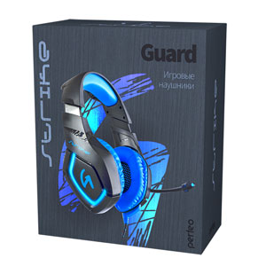Perfeo игровая гарнитура GUARD черная с синим 2,2 м, разъем 3,5 мм (4 pin) и USB (LED), переходник