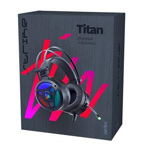 Perfeo игровая гарнитура TITAN черная 2,1 м, USB, вирт. звук. 7.1, динамическая RGB подсветка
