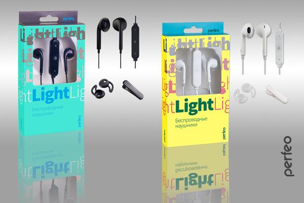 Perfeo наушники внутриканальные с микрофоном беспроводные LIGHT белые (PF_A4309)