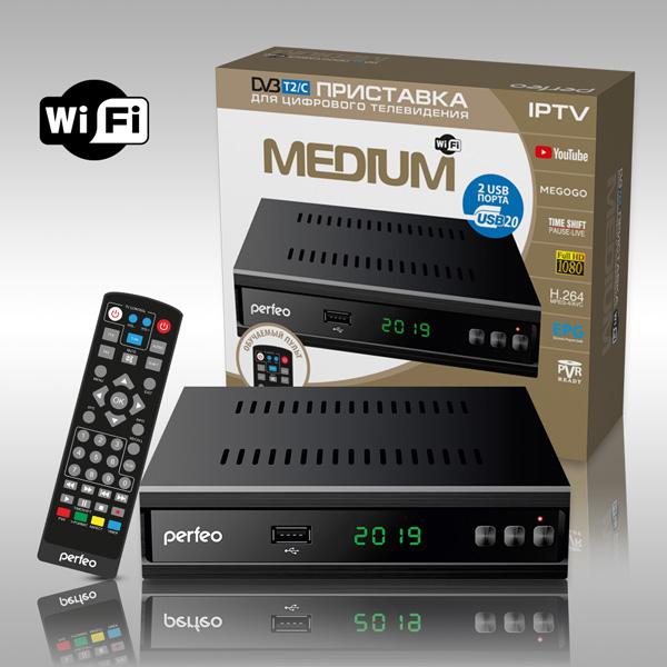 Perfeo DVB-T2/C приставка «MEDIUM» для цифрового TV, Wi-Fi, IPTV, HDMI, 2 USB, DolbyDigital, обучаемый пульт ДУ (PF_A4487)