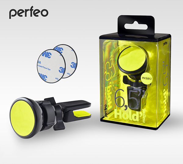 """Perfeo-518-2 Автодержатель для смартфона до 6,5""""/ на воздуховод/ магнитный/ черный+желтый (PF_A4461)"""