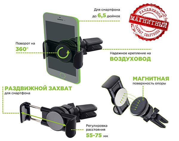 """Магнитный автодержатель Perfeo-523 для смартфона до 6,5"""" на воздуховод"""