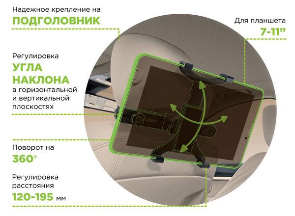 """Автодержатель Perfeo-712 для планшета 7""""- 11"""" на подголовник"""