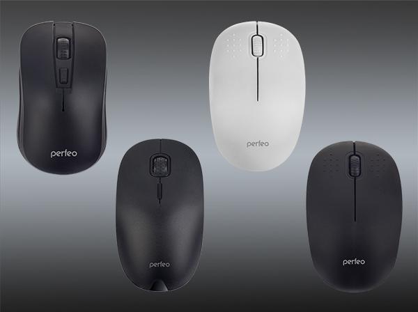 Три беспроводные мышки симметричной формы - Pointer и Simple c переключаемым разрешением 800 / 1600 / 2400 DPI и 800 / 1200 DPI соответственно, а также мышка Target 1000 DPI.