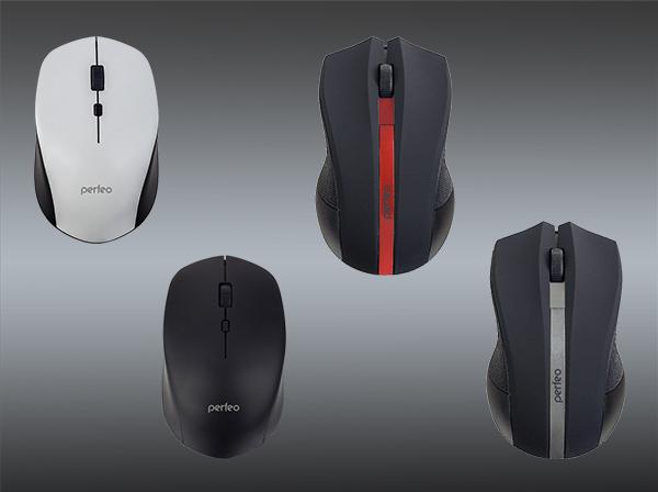 Полноразмерные и симметричные беспроводные мыши Strong с кнопкой для быстрого переключения разрешения 800 / 1600 / 2400 DPI, Vertex с разрешением 1000 DPI.
